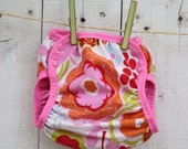limited run MOCCA BOLD FLOWER  waterproof diaper cover - swim diaper cover size xs - lg WITH CHOICE OF VELCRO OR SNAPS