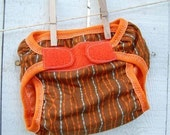KELP STRIPE BROWN waterproof diaper cover / swim diaper cover / photo prop size xs-lg WITH CHOICE OF VELCRO OR SNAPS