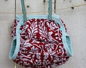 featured on ETSY FRONT PAGE limited run red damask  waterproof diaper cover - swim diaper cover size xs - lg with choice of velcro or snaps