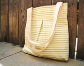 Cotton Lemon and Lime Ticking Stripe A-Frame Tote-Lined