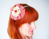 Fabric Flower Headband or Hairclip Adjustable and Removable - Red and White Circus Circus