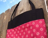 Market Tote in Pink and Black Cotton