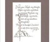 Print of Original Hand Scribed Calligraphy Prayer, Psalm 18 2-4