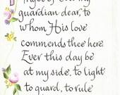 Original Design Calligraphy and floral design Guardian Angel Prayer