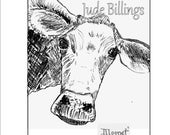 Pen and Ink Illustration of a 'Curious Cow' entitled MOONET