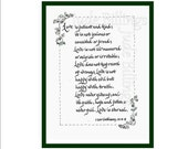 Greeting Card, Calligraphy and Pen and Ink Illustrations LOVE '1 Corinthians 13'
