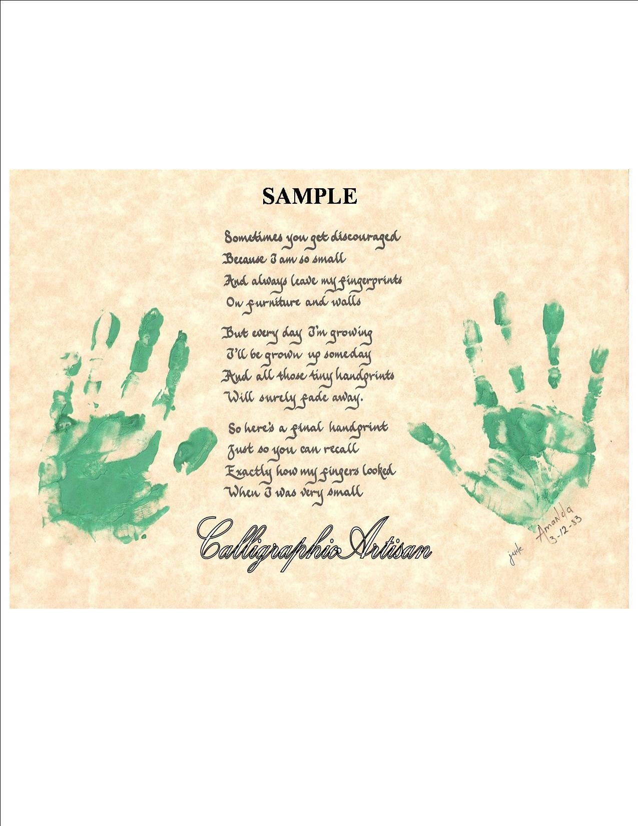 Hand Scribed 'Childrens' Handprint Poem' by CalligraphicArtisan