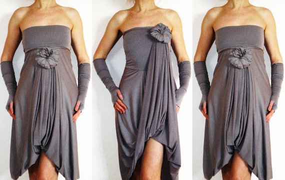 Grey Bridesmaids Dress - Convertible Wrap Infinity Multi- way dress - more than 18 ways to wear, No.1