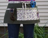 Utility Apron - Forest Green with Purple Flowers