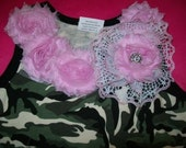 Listing for Melissa Mason    3 PC. Toddler Size 4T Camo and Pink Dress Lace Leggings and Matching Hair Bow Ready To Ship