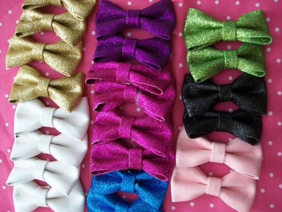 22 Glitter Ribbon Bows for Scrapbooking Card Making Hair Clips Ready to Ship