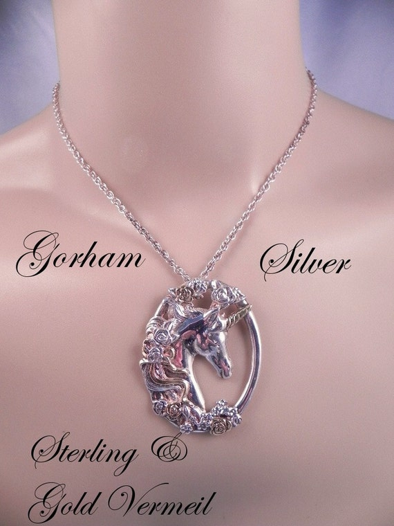 Vintage Gorham Silver Unicorn Pendant and Chain
