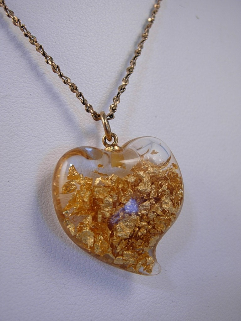 vintage glass gold flakes pendant necklace free shipping