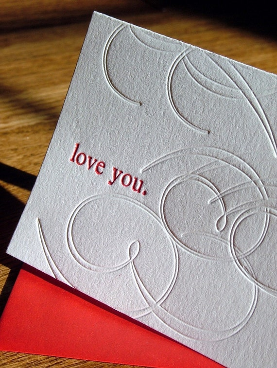 RESERVED for Nichole: love you. Letterpress Card