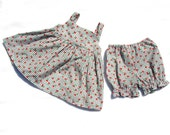 Sweet Cherries Gingham Dress and Bloomers, Size 12 month