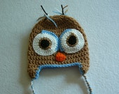 Crochet Owl Hat Baby and Toddler sizes