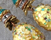 Sunny Antiquity- Art Nouveau- Vintage Glass Cabs in Brass- Earrings- Cynensemble