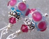 Tiny Tropics- Little Artisan Lampwork And Sterling Earrings-Petites Collection- Cynensemble