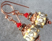 Lava And Cream- Artisan Lampwork And Copper Earrings- Cynensemble