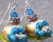 OOAK Wild Flowers- Artisan Lampwork And Sterling 3-D Earrings- Cynensemble