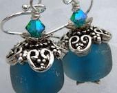 Denim Sparkle- Etched Artisan Lampwork Earrings- Cynensemble