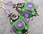 Lilacs Back Home- Lampwork And Sterling Earrings- Cynensemble