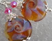 Glow Wave- Artisan Lampwork And Sterling Earrings- Cynensemble