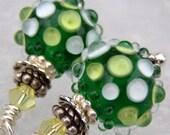 Glowing Fields- Lampwork And Sterling Earrings- Cynensemble