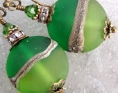 Best Greens II- Etched Artisan Lampwork And Antique Brass Earrings- Cynensemble