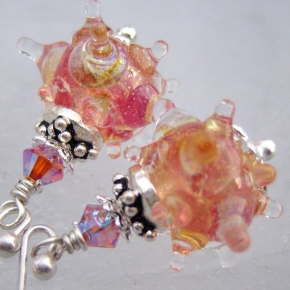 Intergalactic Spikes- Artisan Lampwork And Sterling Silver Earrings- Cynensemble
