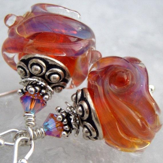 OOAK Dizzy Glow- Artisan Lampwork And Sterling Earrings- Cynensemble