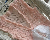 Lacy, Romantic, Pale Pink Crocheted  Women's Vest with White Lace Tie
