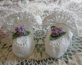 White Crocheted Booties with Ruffle and Lilac Flowers for Newborn to Three Month Old Baby Girl for Christening/Blessing/Baptism