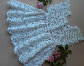 Crochet Baby Dress, White Lacy Baby Dress, Christening Dress, Beach Dress, Beach Baby Dress,, Newborn Baby Dress, Photo Prop Baby Dress