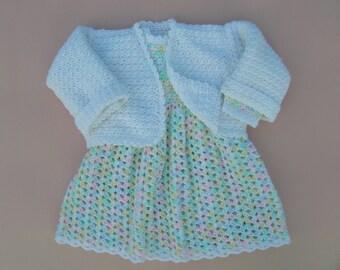 Crochet Baby Dress, Newborn Baby Dress, Three Month Old Baby Dress, Baby Dress With Matching Sweater, Crochet Baby Sweater, Crochet Baby