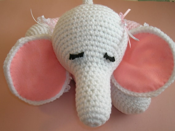 White and Pink Crocheted Stuffed Elephant