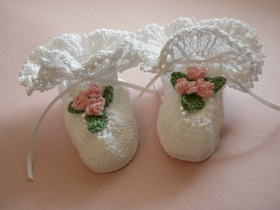 White Crocheted Baby Girl Booties with Ruffle and Crocheted Flowers