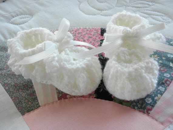 White Crocheted Baby Booties with Love Knot Ruffle for Newborn to Three Month Old Baby Girl or Baby Boy for Christening/Blessing/Baptism