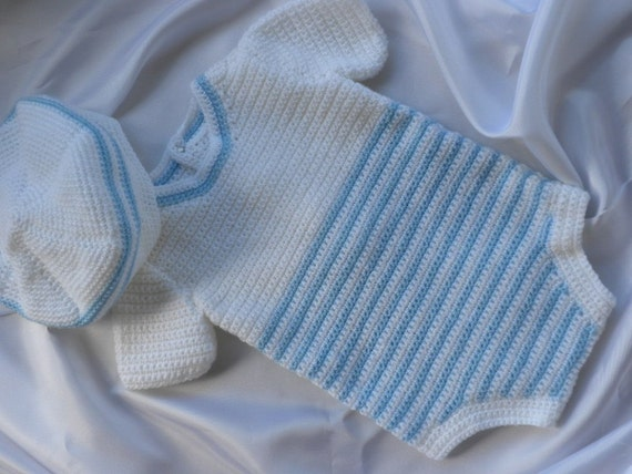 RESERVED for ILLY - White and Blue Crocheted Onesie and Hat/Tam for Newborn to Three Month Old Baby Boy for Photo/Picture Prop