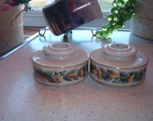 Set of 2 Vintage Avon Porcelain Thanksgiving Candle Holders Pears and Partridge or Quail Bird on them