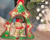 Old Hard Plastic Christmas Ornament Snowman Christmas Tree Star Wreath