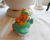 Vintage Rubbery Plastic 2 Yellow Chicks in Airplane Easter Ornament