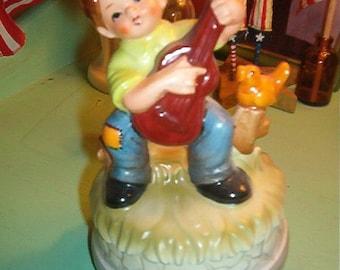 Vintage Porcelain Music Box Little Boy playing guitar, bird on stump JAPAN