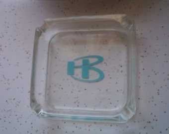 Vintage Ashtray Robins Egg Blue Initials HB Clear Glass