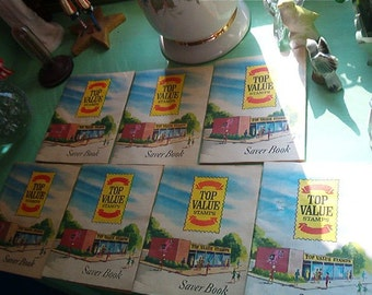 1966 Lot of 7 Top Value Stamps Saver Books Retro Cool