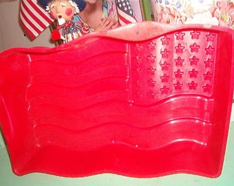 Vintage Red Plastic Jell O Mold of our American Flag
