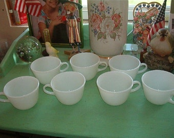 Lot of 7 Vintage PYREX (R) Milk Glass White CUPS Shabby Chic White