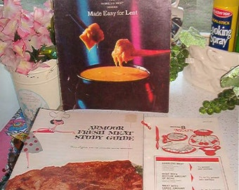 Lot of 3 Vintage Cookbooks Meats, Recipes for lent, Meat Study Guide
