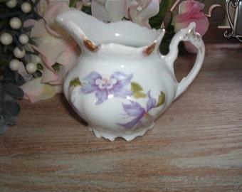 Shabby Chic Vintage Porcelain Made in Bavaria Creamer Pitcher Lavender Flowers