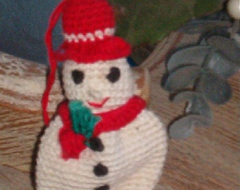 Vintage Darling Crocheted Snowman Christmas Ornament